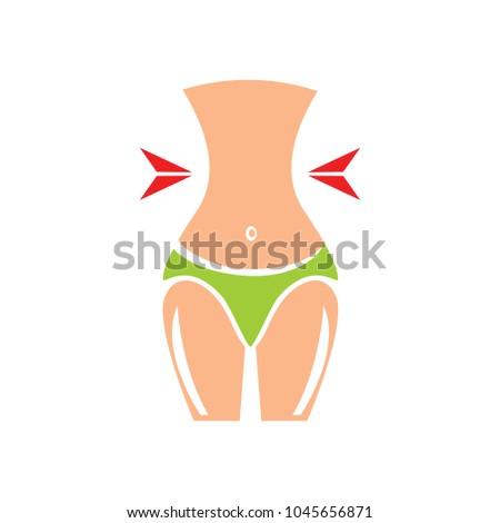 women waist icon, female silhouette, diet icon