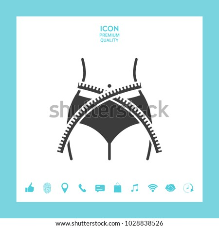 Women waist with measuring tape, weight loss, diet, waistline - icon