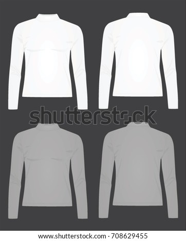 Women white and grey long neck t shirt. vector illustration