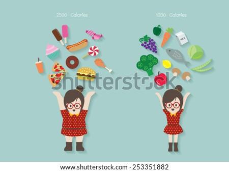 Women with junk food and healthy food vector cartoon.