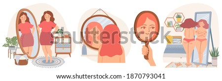 Women with mirrors. Confident young female look at reflection in mirror. Self acceptance concept. Girls in scandinavian interior vector set. Happy carefree overweight lady loving her body, Photo stock ©