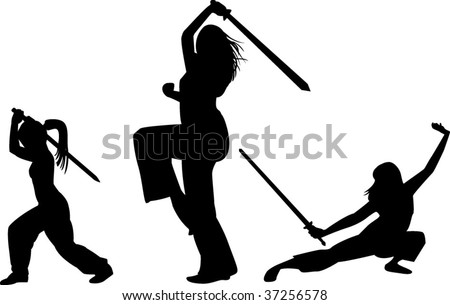women with swords on white