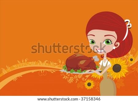 women with thanksgiving turkey