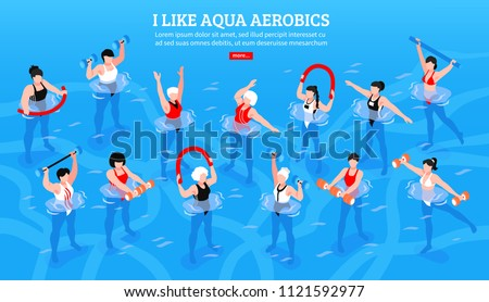Women with various equipment during aqua aerobics class on blue background isometric horizontal vector illustration