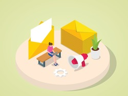 Women working on laptop sent mail to customer client colleague partnership invitation announcement with isometric 3d flat cartoon style