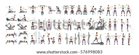 Women workout set. All kinds of exercises in gym, cardio, treadmill, body lifting and more. Healthy lifestyle.