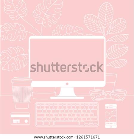 women workspace desktop