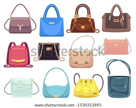 Womens bags. Ladies handbags with fashion accessories. Leather female clutch and purse vintage vector flat style trendy bagging set