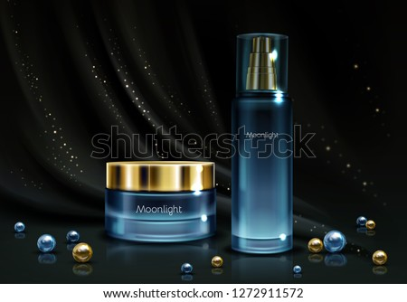 Womens night cosmetics line 3d realistic vector. Perfumes in branded bottle of blue glass and moisturizing cream jar with golden cap on black silk background with scattered around perls illustration