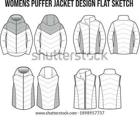 WOMENS PUFFER JACKET FASHION DESIGN FLAT SKETCH CAD VECTOR ストックフォト ©