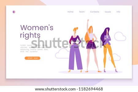 Womens rights, human rights, feminism, call for change, no violence, womens equality. Modern flat vector illustration with three determined young girls. Landing page template