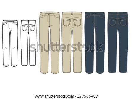 Womens's jeans technical drawing
