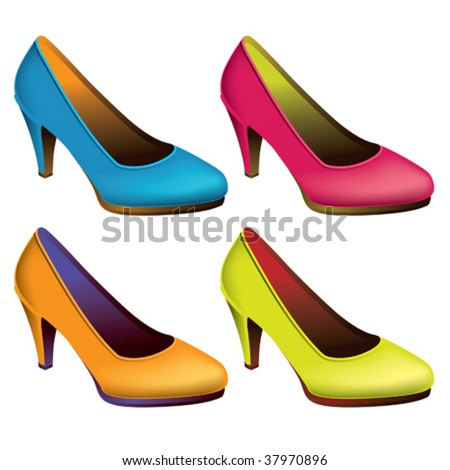 Womens shoes isolated on white. Vector illustration.