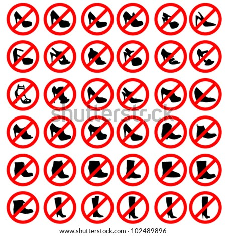Womens Shoes Warning Sign/Icon Set