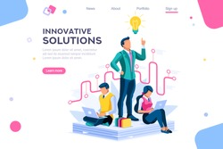 Wonder creative answer, cartoon exclamation, communication. Search for confused idea or problem doubt solution. Clever think. Project for application alert concept with character isometric flat vector