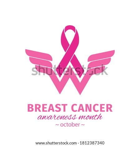 Wonder Women Cancer Survivor. Breast cancer awareness design with Pink ribbon. Pink ribbon logo for awareness campaigns, support and charity. Vector flat design isolated on white background Stockfoto ©