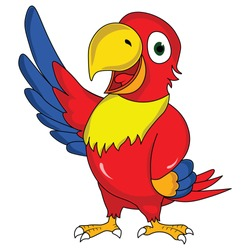 Wonderful multi color parrot bird standing happy
