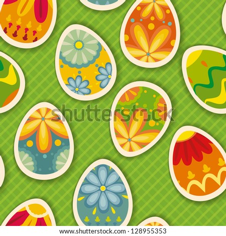 Wonderful ornamental eggs for Easter. Easter card SEAMLESS PATTERN