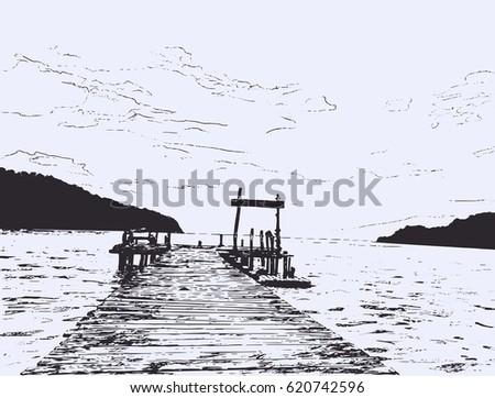 wonderful sea view pier sketch