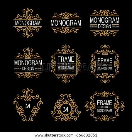 Wonderful set, style art nouveau. Elegant Line Art Logo, Emdlem and Monogram Design, vector template.