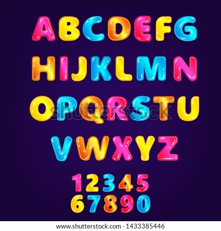 Wonderland fairy ABC or font in rainbow colors for any kid's design the vector illustration isolated on the dark background. Set of alphabet letters typography symbols.
