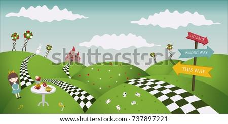 Wonderland fantastic landscape with roses. Alice and the white rabbit. Horizontal banner, vector illustration