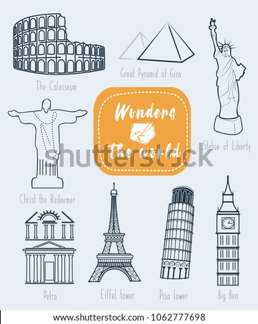wonders of the world vector