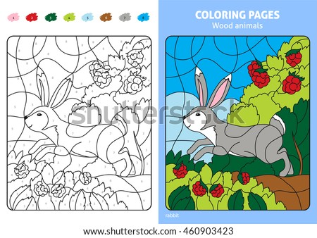 Wood Animals Coloring Page For Kids Rabbit Printable Design Book Puzzle