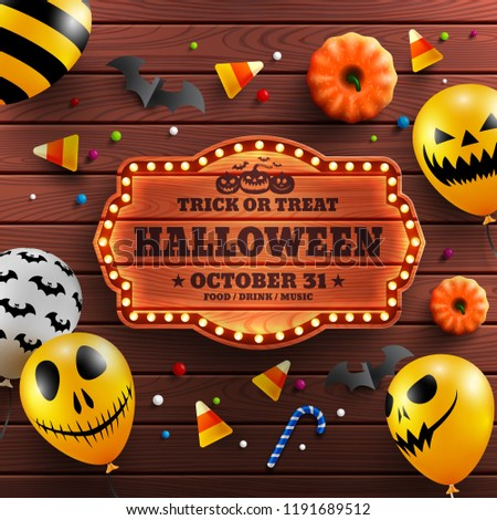Wood background for Halloween Banner with vintage wooden board,Halloween decoration and Halloween Ghost Balloons.Scary air balloons.Website spooky or banner template.Vector illustration EPS10 - Shutterstock ID 1191689512