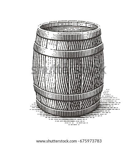 Wood barrel. Hand drawn engraving style illustrations.