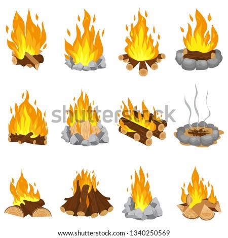 wood campfire outdoor bonfire