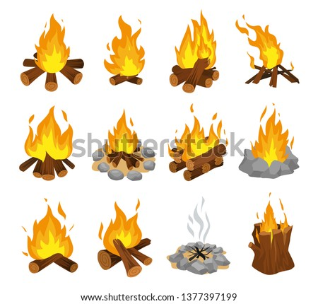wood campfire set  travel and