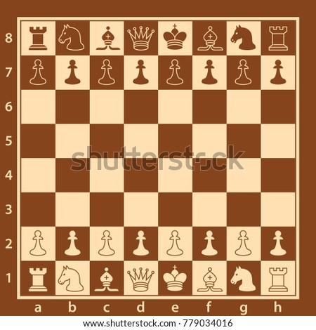 Wood chess board with chess pieces. Chess pieces in flat style. Vector illustration