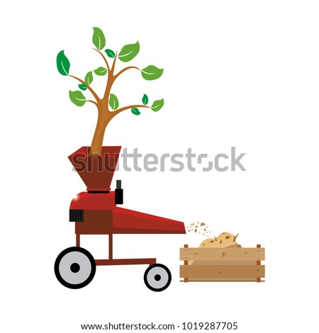 Wood chipper vector file tree through wood chipping machine chipper,  cleanup,  equipment,  filling,