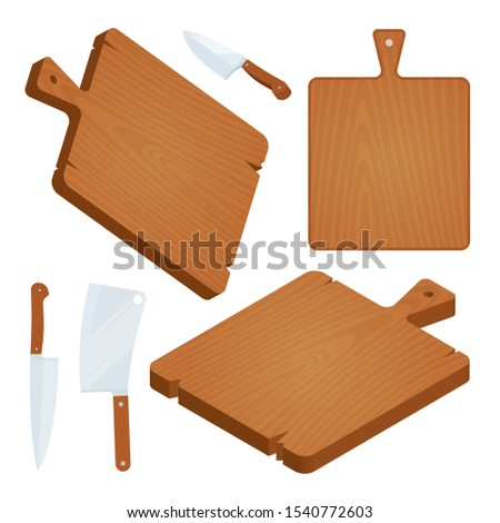 Wood cutting board. Cutting boards, kitchen knife and cleaver vector illustrations set. Part of set.