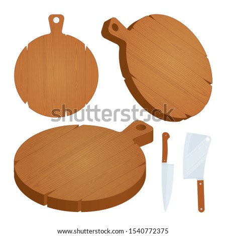 Wood cutting board. Round cutting boards, kitchen knife and cleaver vector illustrations set. Part of set.