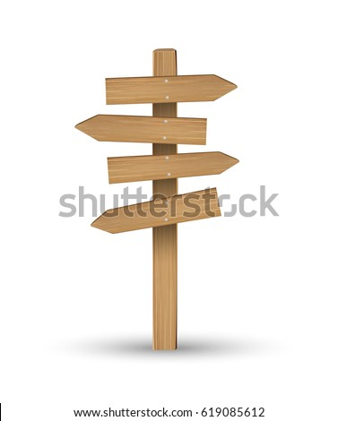 wood direction signs on a white