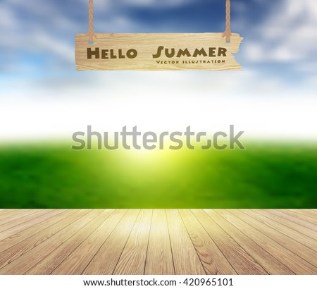 Wood floor texture on sky and grass field blurred background, ( Image trace of wooden background ) Vector illustration template design