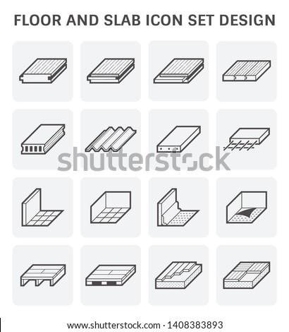 Wood floor tile floor and slab icon set design.