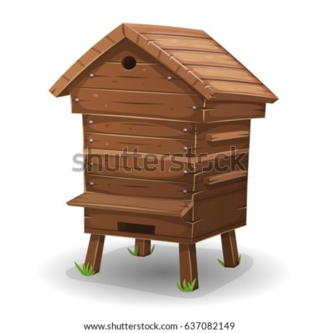 Wood Hive For Bees/ Illustration of a cartoon wooden beehive, for beekeeping agriculture