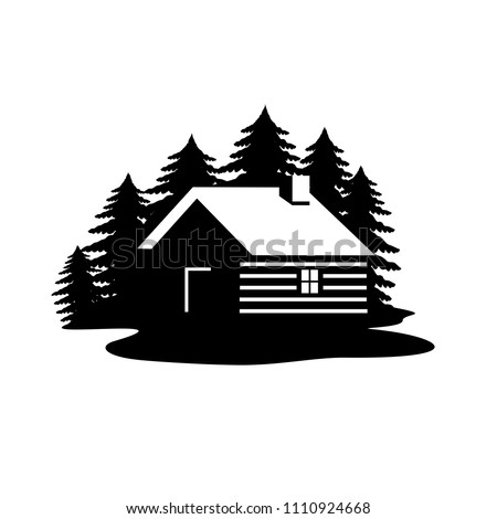 Wood house in the hill  icons vector.