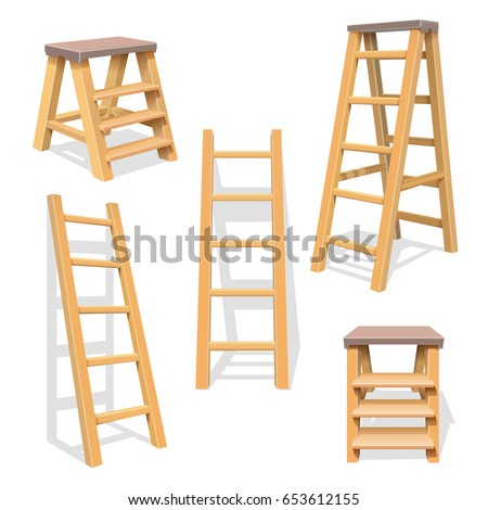 wood household steps isolated
