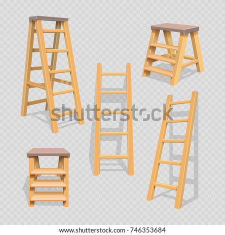 wood household steps set on...