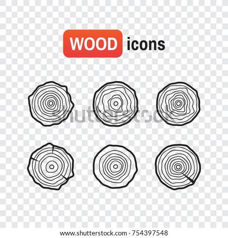 wood icon logs tree rings