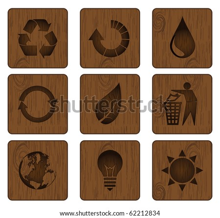 Wood icon set sustainable and green energy