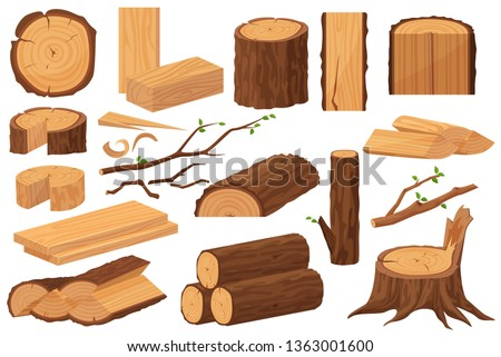 Wood industry raw materials. Realistic production samples collection. Tree trunk, logs, trunks, woodwork planks, stumps, lumber branch, twigs cartoon vector illustration.
