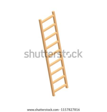 Wood ladder home farm icon. Isometric of wood ladder home farm vector icon for web design isolated on white background