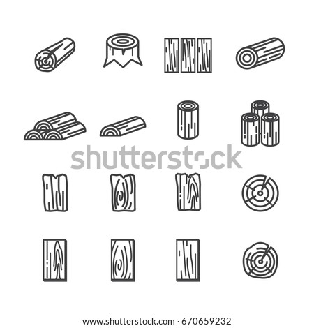wood line icon set
