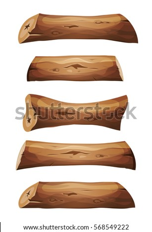 wood logs and planks set
