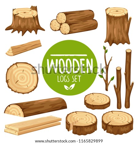 Wood logs and stubs isolated on white background. Cartoon wood and logs set.